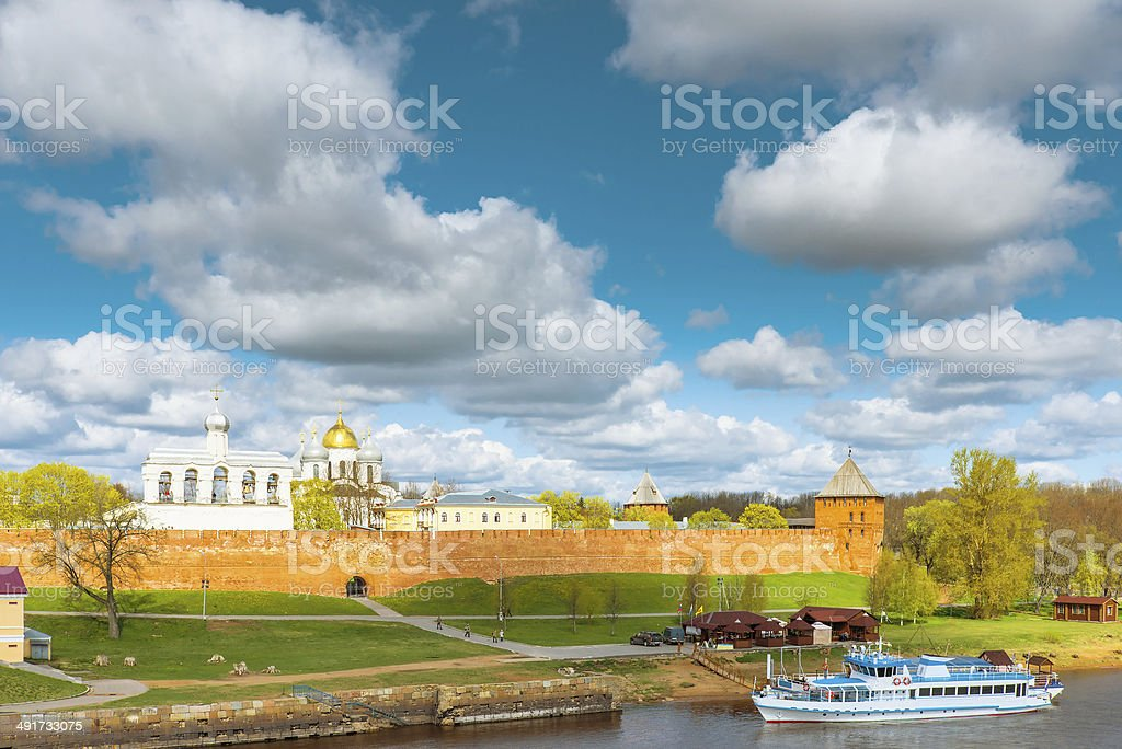 view of the Novgorod Kremlin on a sunny afternoon royalty-free stock photo