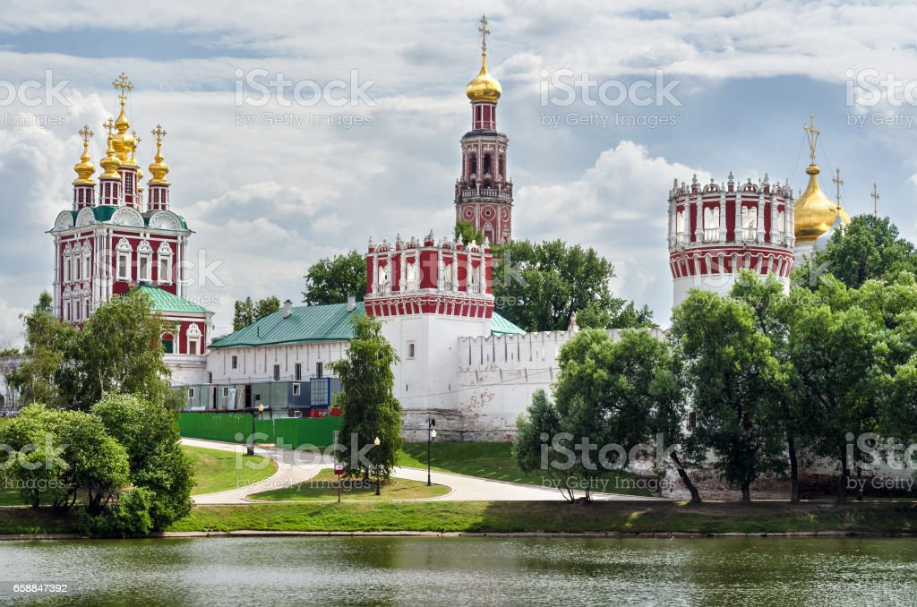 View of the Novodevichy convent in Moscow in the summer stock photo