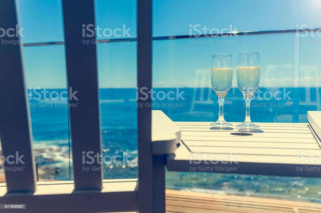 View of the ocean from a balcony. stock photo