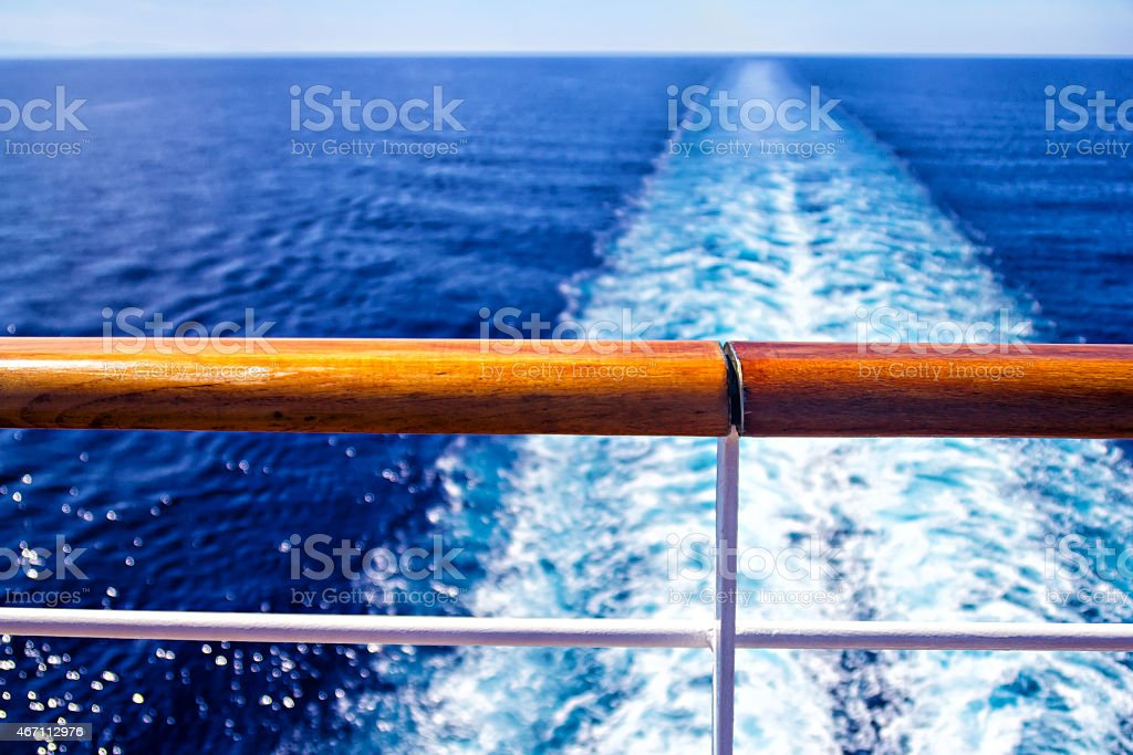 View of the ocean from the back deck of a cruise ship stock photo