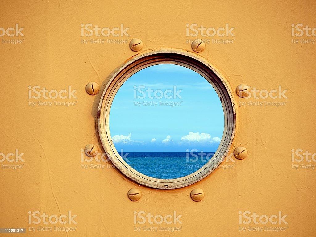 View of the Ocean through a Porthole stock photo