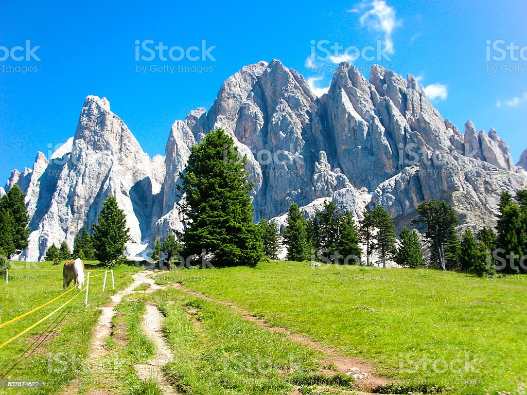 View of the Odle mountain group, Dolomites, Italy stock photo