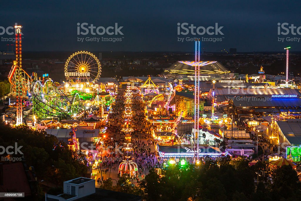View of the Oktoberfest in Munich at night. stock photo