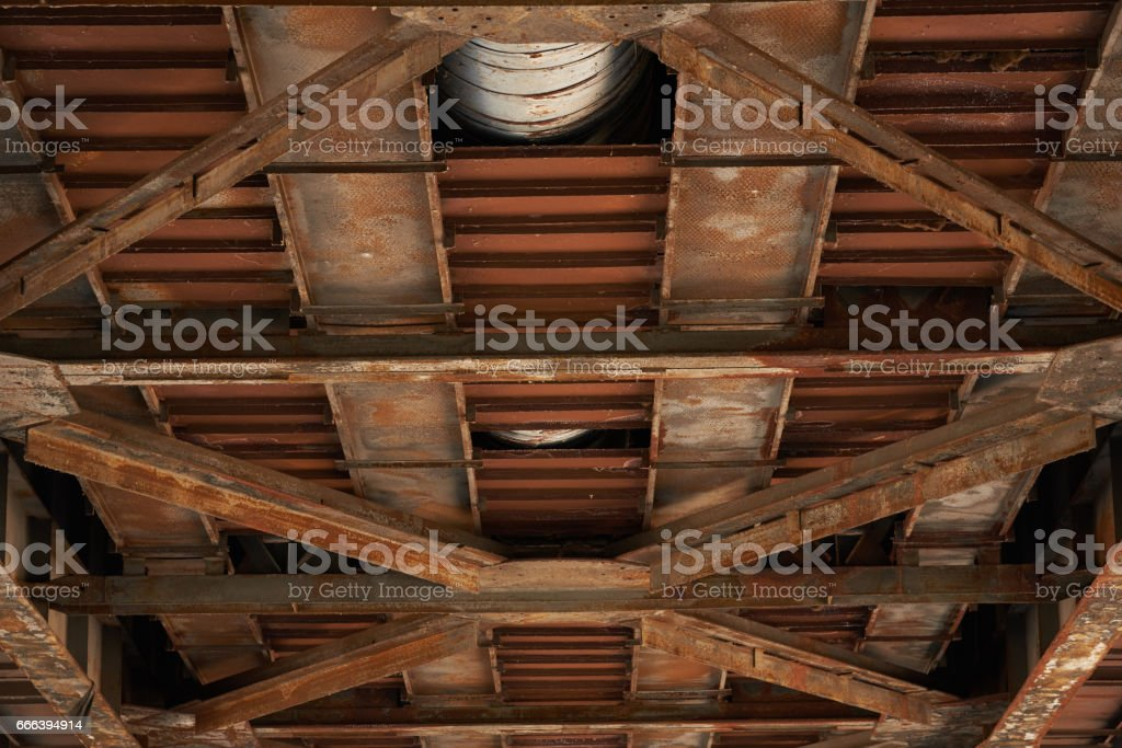 View of the old automobile bridge from below stock photo
