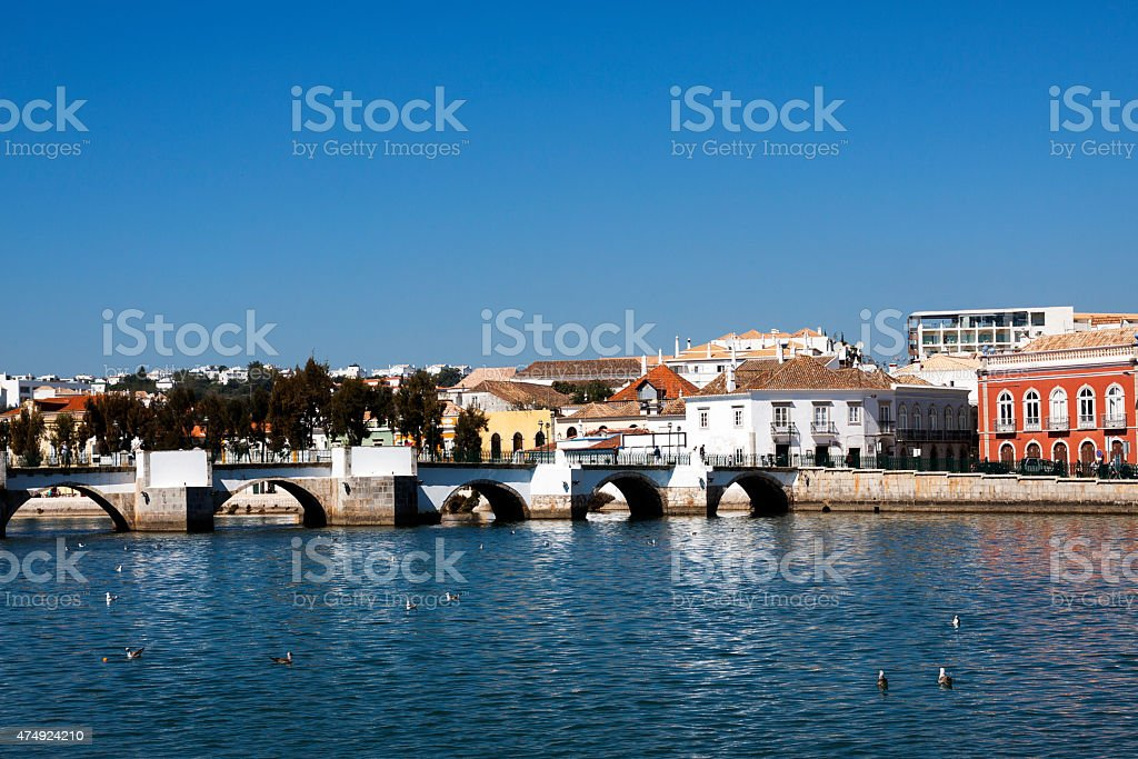 View of the old bridge and Tavira Portugal stock photo