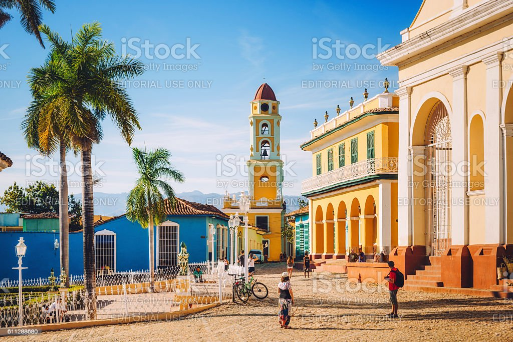 View of the old centre of Trinidad, Cuba stock photo