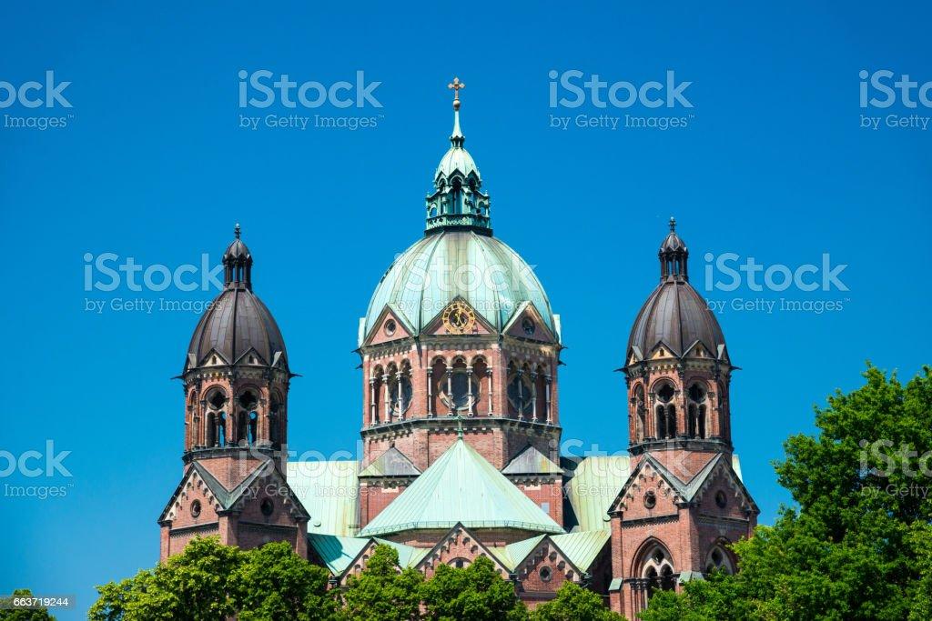 View of the old church St. Lukas Church - Lukaskirche. Munich, Bavaria, Germany. stock photo