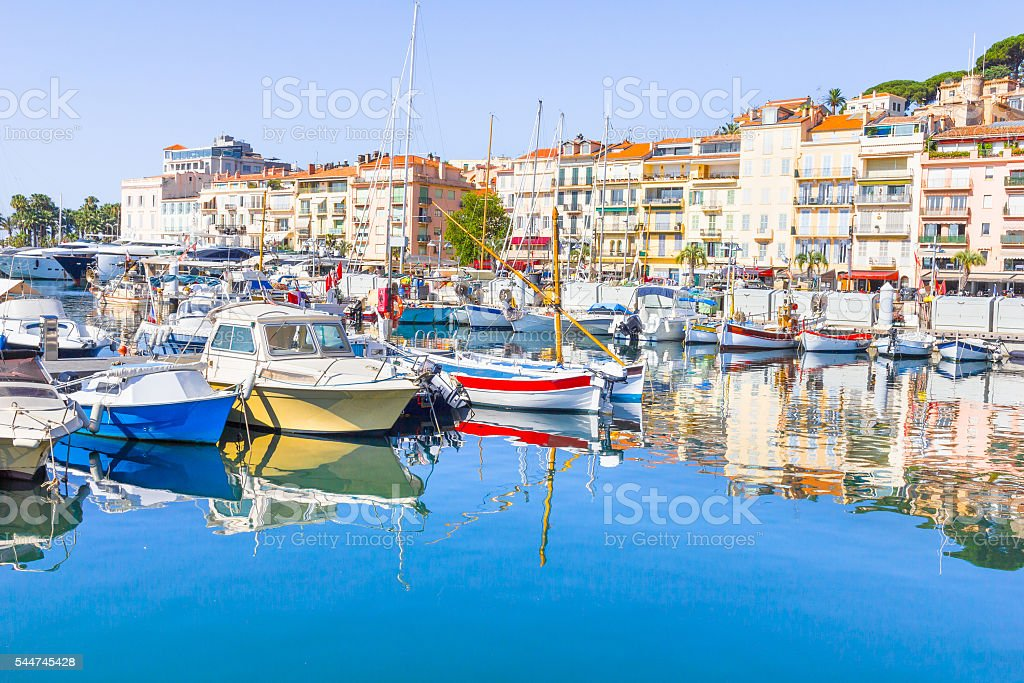 View of the old port of Cannes, France stock photo