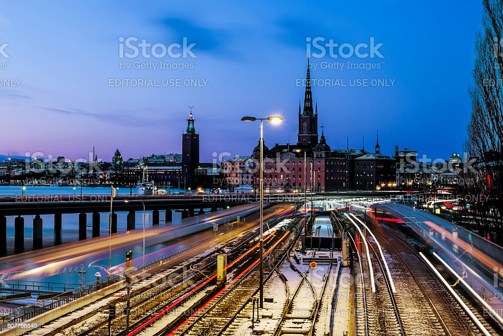 view of the old town Gamla Stan in Stockholm.Sweden. stock photo
