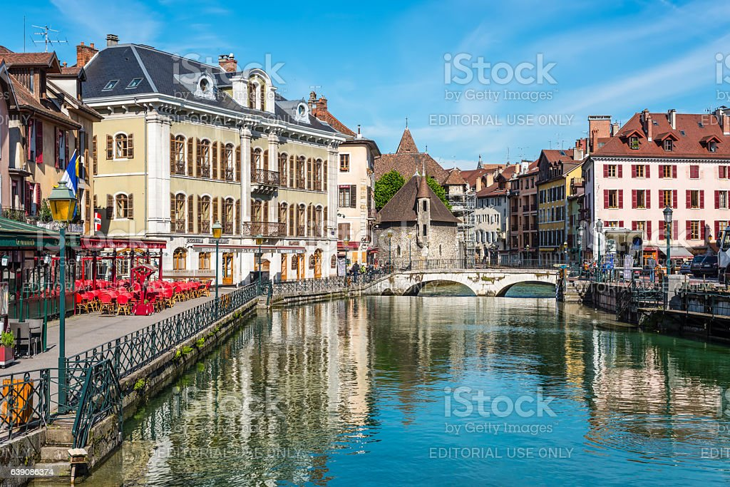 View of the old town of Annecy, France stock photo