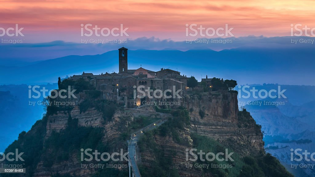 View of the old town of Bagnoregio before sunrise stock photo