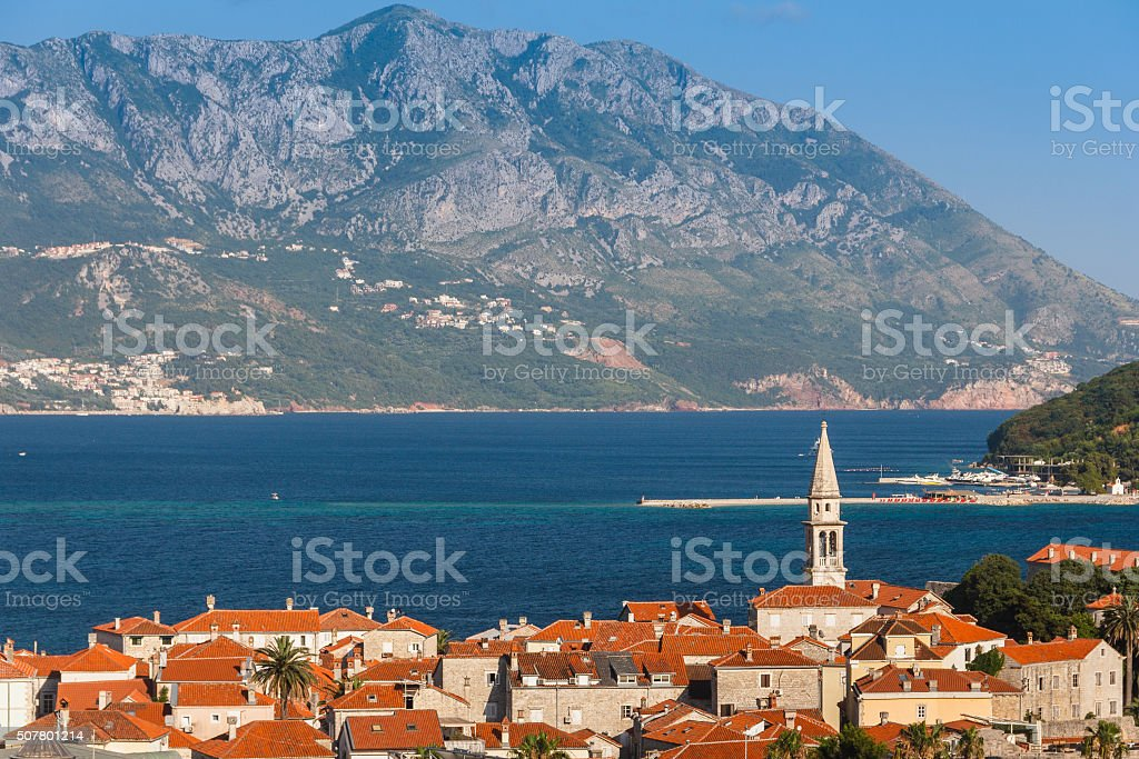 View of the old town of Budva. Montenegro. stock photo