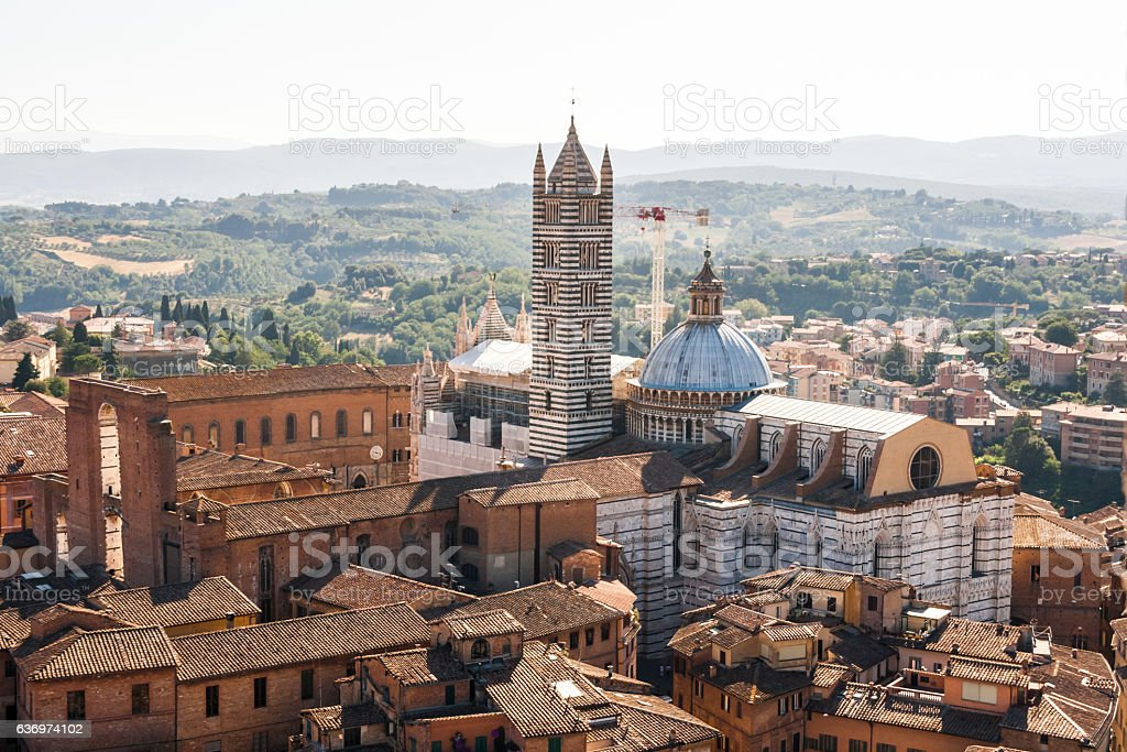 View of the old town of Siena, Italy stock photo