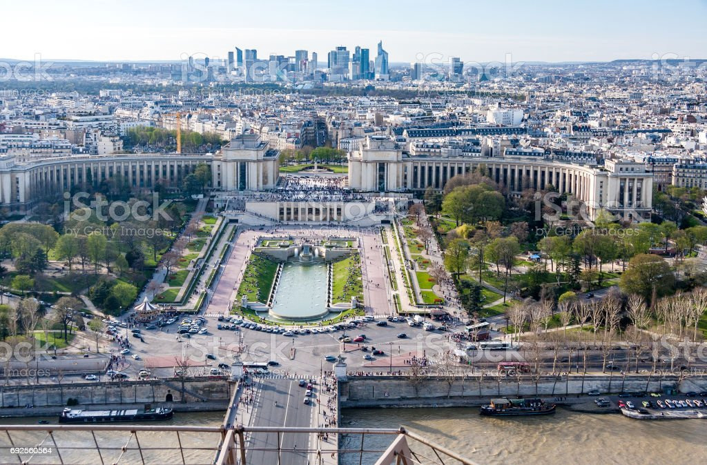 View of the old town, River Seine, the Palais de Chaillot and the modern business district of Paris - La Defense from Eiffel tower stock photo