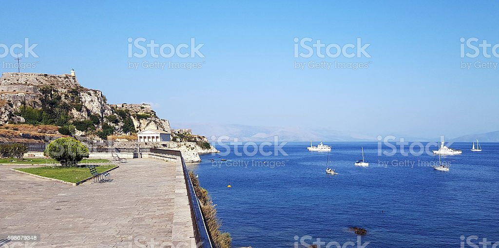 View of the Old Venetian  fortress at Corfu stock photo