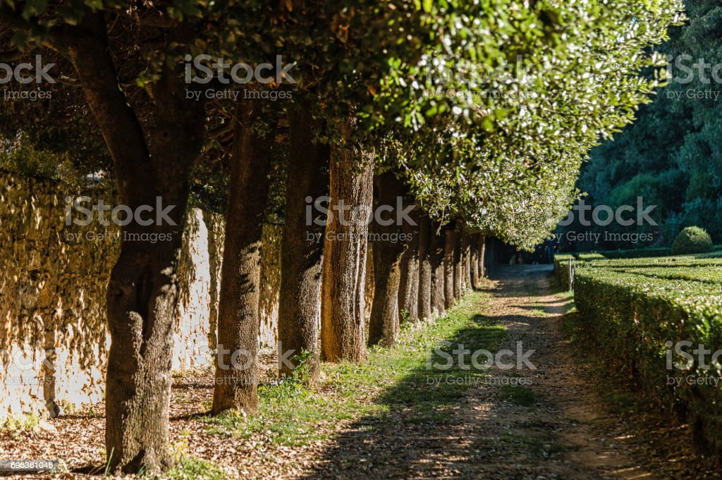 SAN QUIRICO D'ORCIA, ITALY - OCTOBER 30, 2016 - View of the Orti Leonini in San Quirico d'Orcia, Val d'Orcia, Tuscany, Italy stock photo