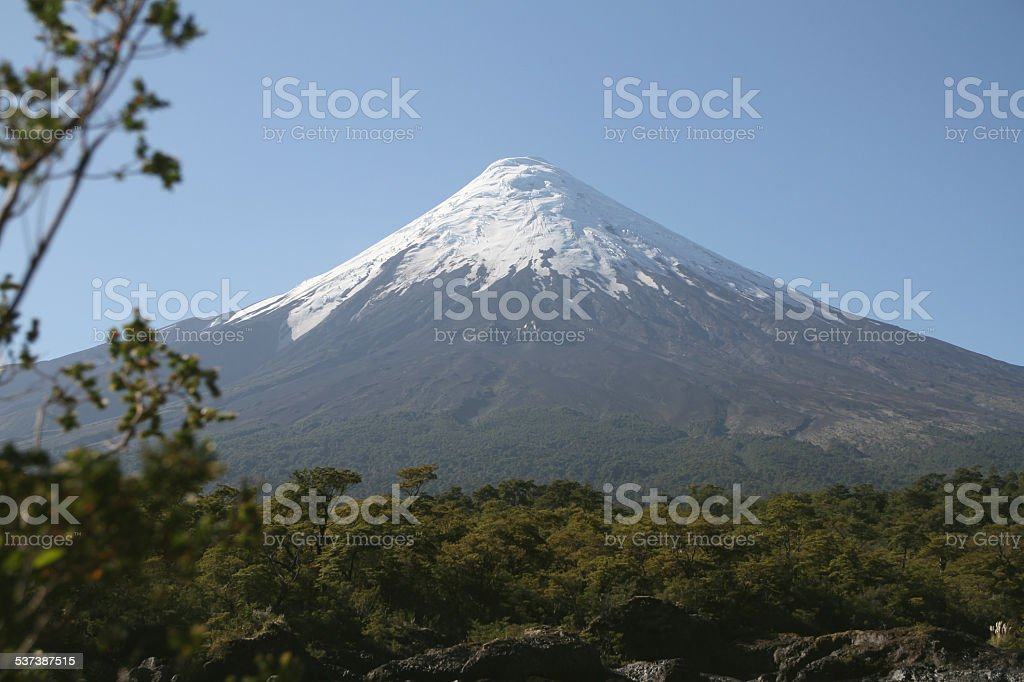 View of the Osorno Volcano, Patagonia, Chile. stock photo