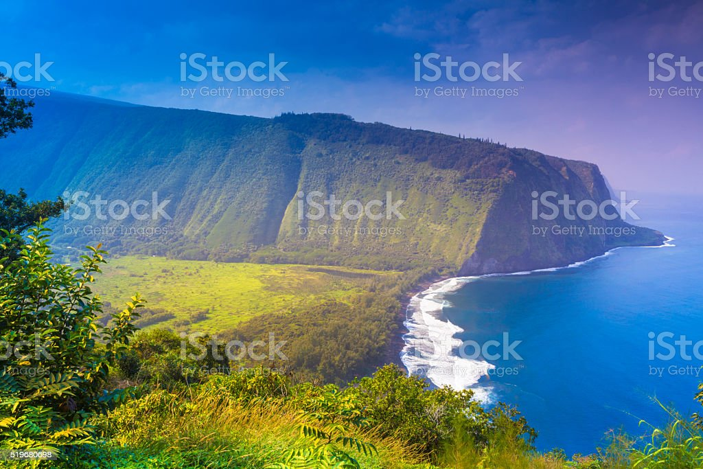 View of the outcrop and ocean stock photo