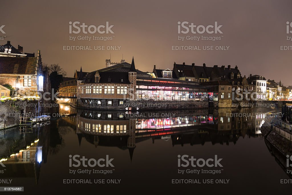 View of the outside of the De Oude Vismijn restaurant stock photo