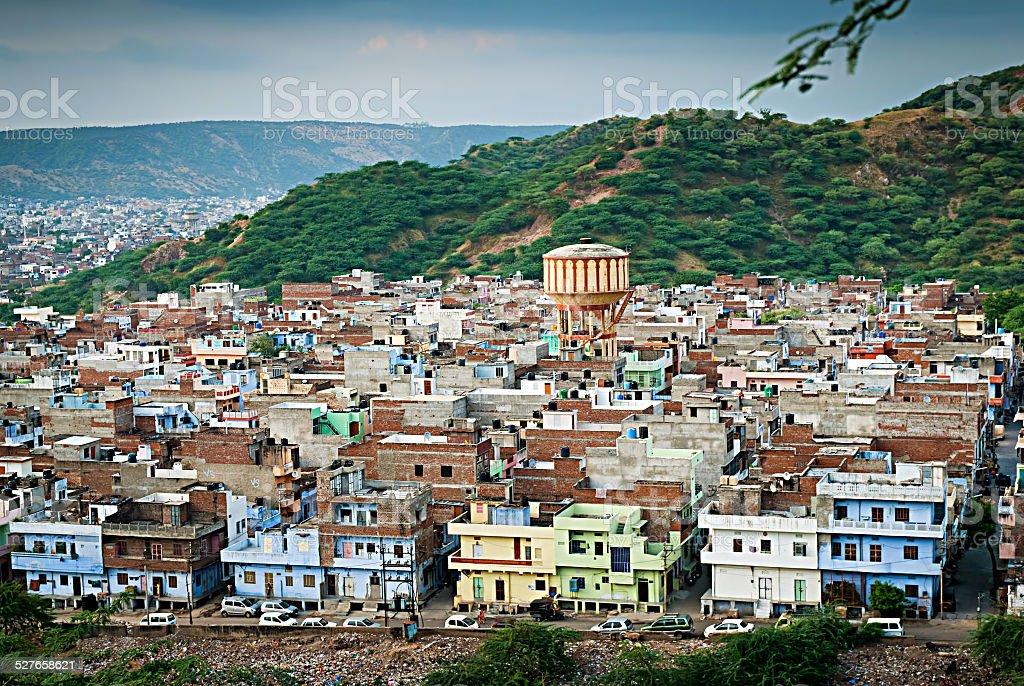 Vue sur la périphérie de la ville, Jaipur, Rajasthan, Inde. photo libre de droits