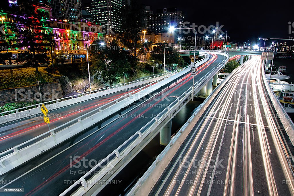View of the Pacific Motorway from the Victoria Bridge, Brisbane stock photo