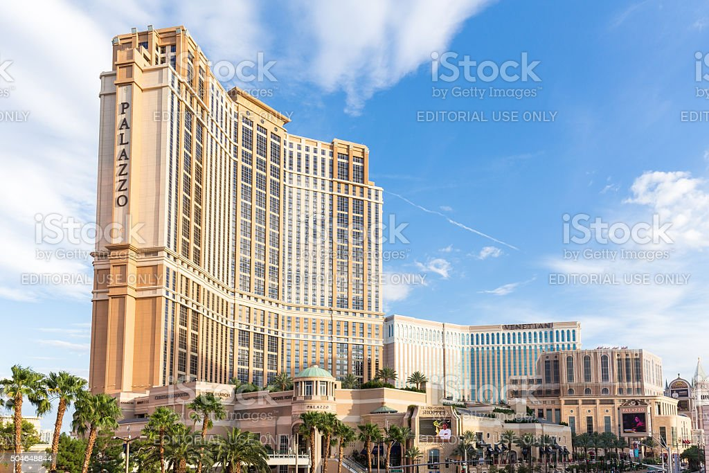 View of The Palazzo hotel and casino in Las Vegas. stock photo