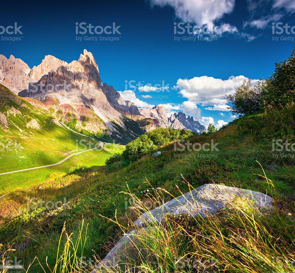 View of the Pale di San Martino mountain range stock photo