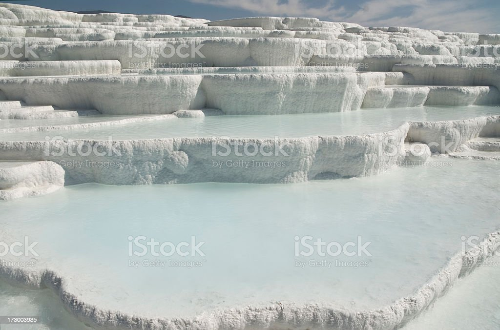 A view of the Pamukkale thermal pools in Turkey royalty-free stock photo