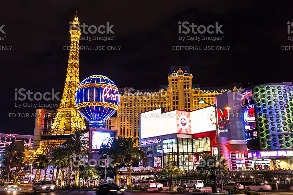 View of the Paris Las Vegas, at night stock photo