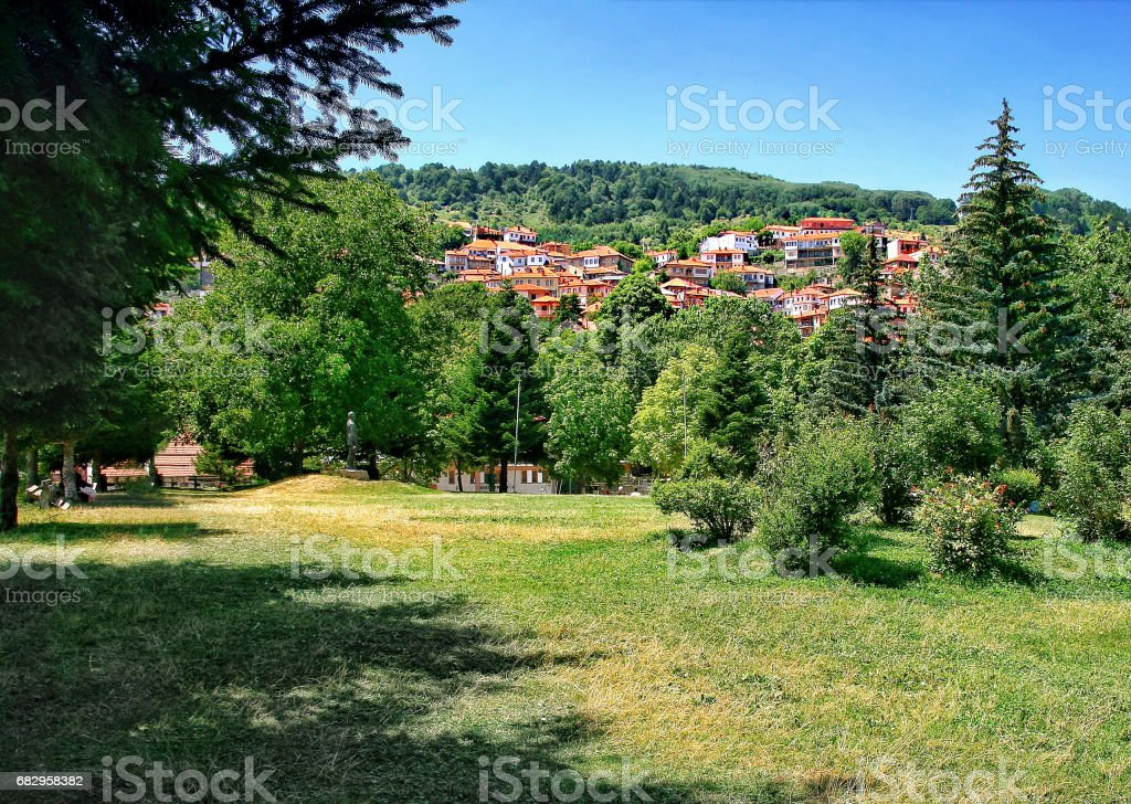 View of the park and part of Metsovo village in Epirus. Greece stock photo