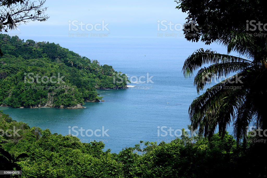 View of the Pasific Ocean in Manuel Antonio National Park stock photo