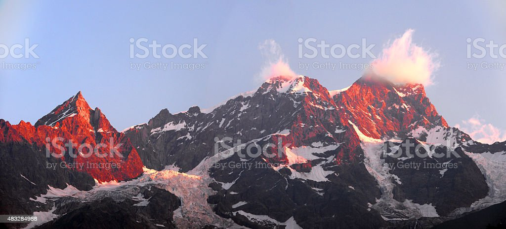 view of the peaks of Monte Rosa stock photo