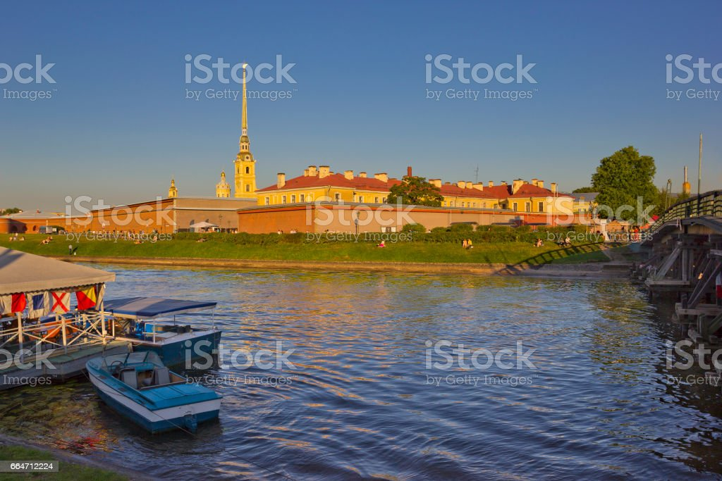 View of the Peter and Paul Fortress across the Kronverkskiy strait in St. Petersburg, Russia stock photo