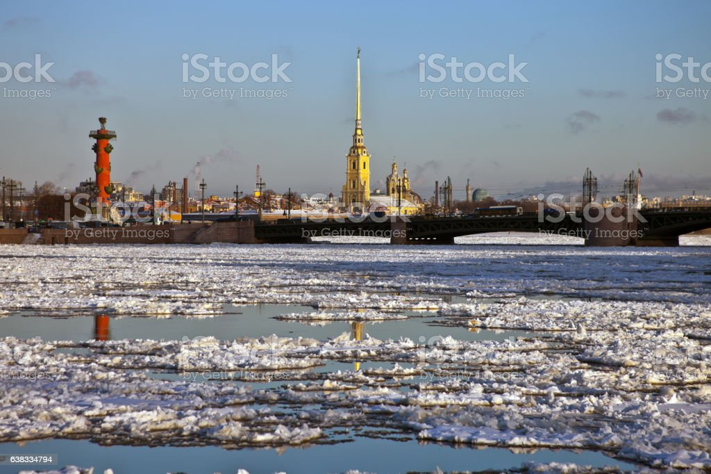 View of the Peter and Paul fortress Rostral, St. Petersburg, stock photo