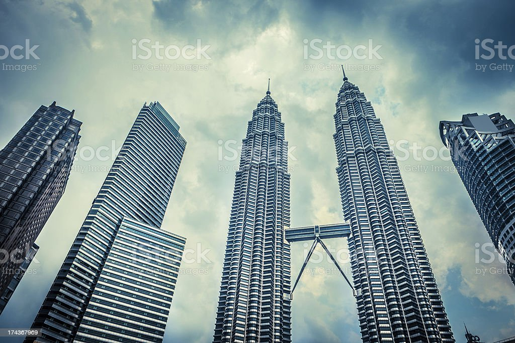 View of The Petronas Twin Towers on Feb 1 stock photo