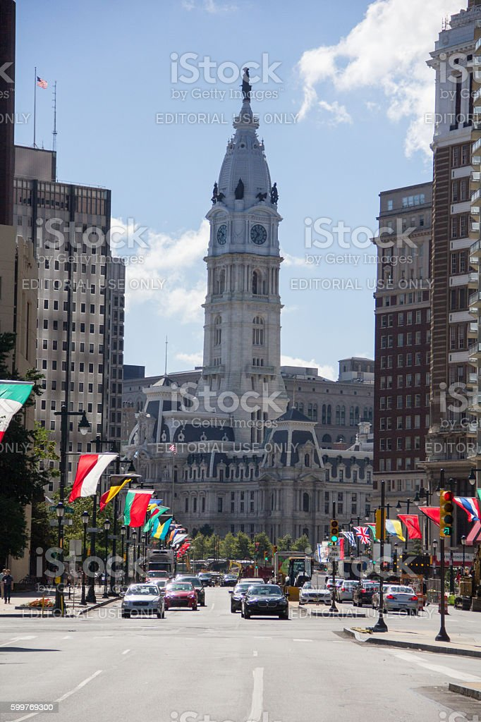 View of the Philadelphia's city hall from Benjamin Franklin Parkway stock photo