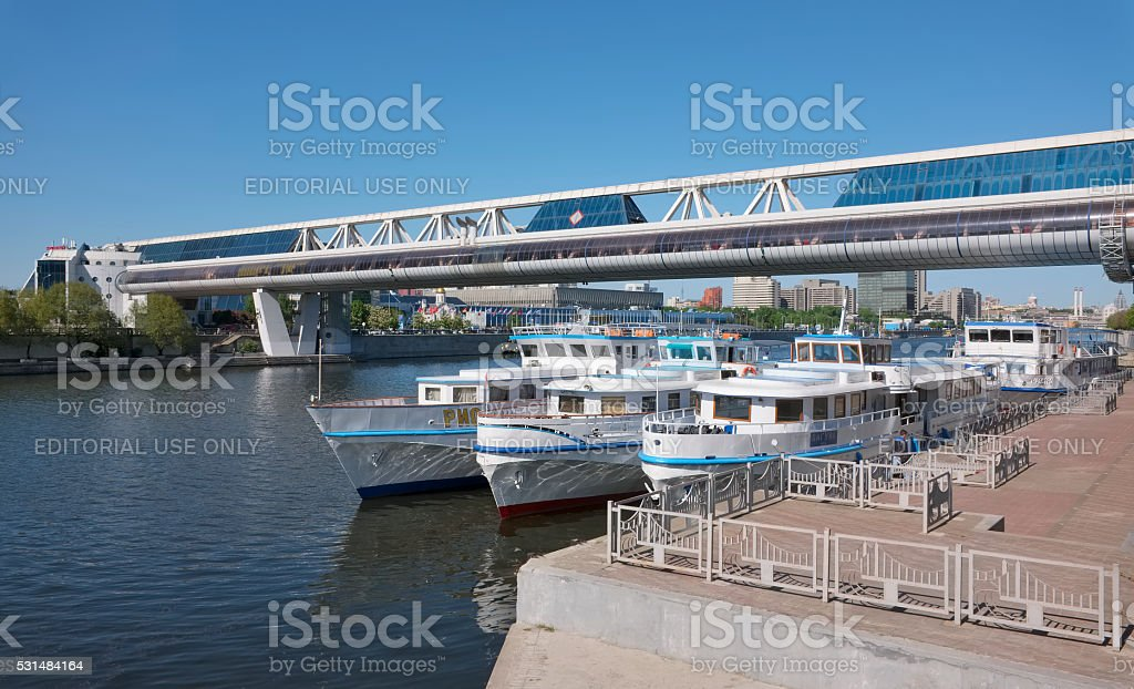 View of the pier bridge 'Bagration' in Moscow stock photo