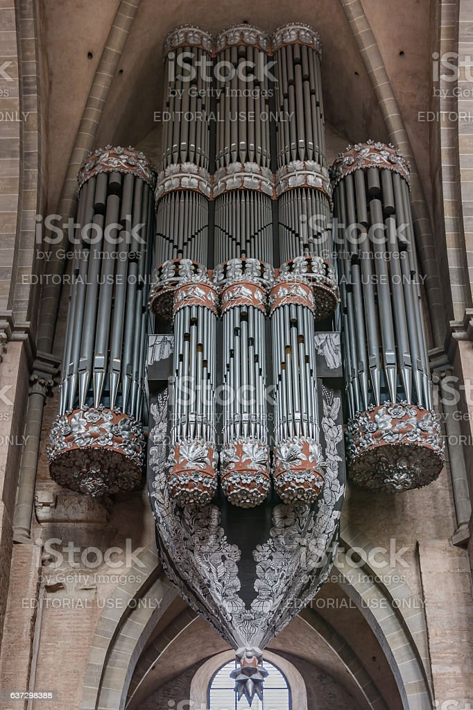 View of the pipe organ in the Cathedral of Trier (Dom Trier) stock photo