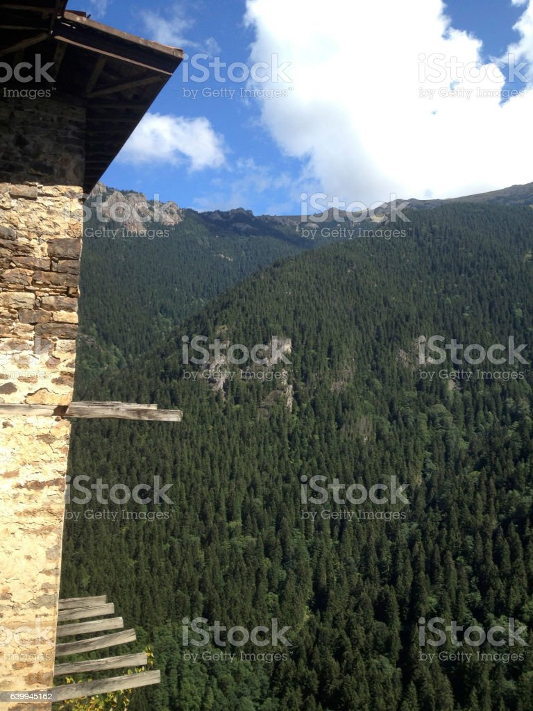 View of the Pontic Mountains from Sumela Monastery stock photo