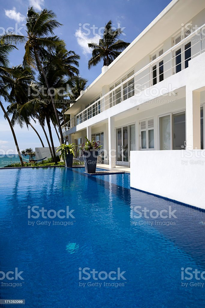 A view of the pool of Villa Sri Lanka  royalty-free stock photo