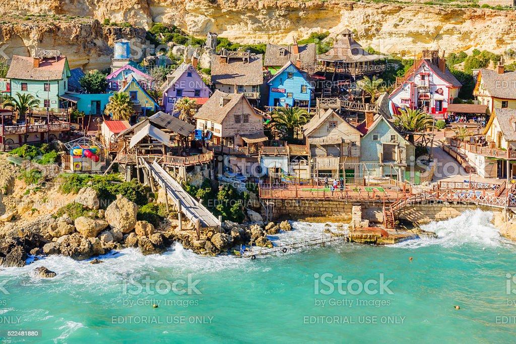 View of the Popeye Village, Malta stock photo