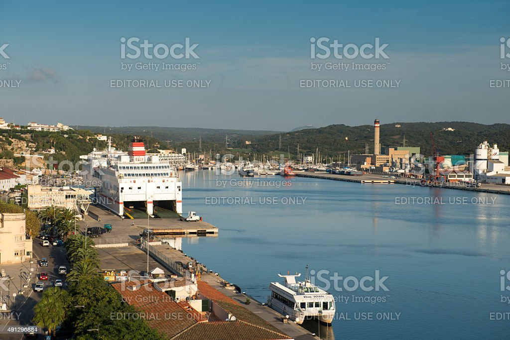 View of the port of Mahon, Menorca, Spain, stock photo