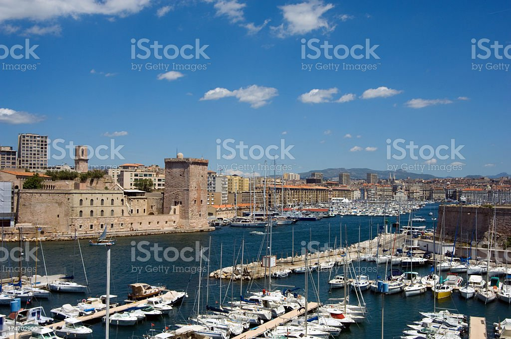 A view of the port of Marseille in France with boats stock photo