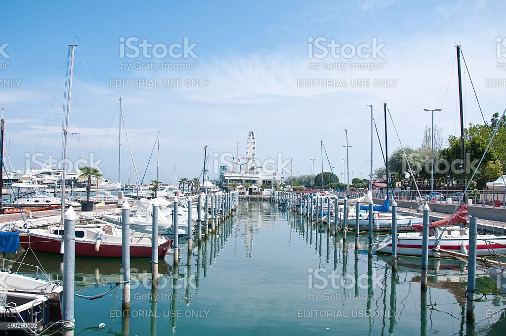 view of the port of Rimini on a sunny day stock photo