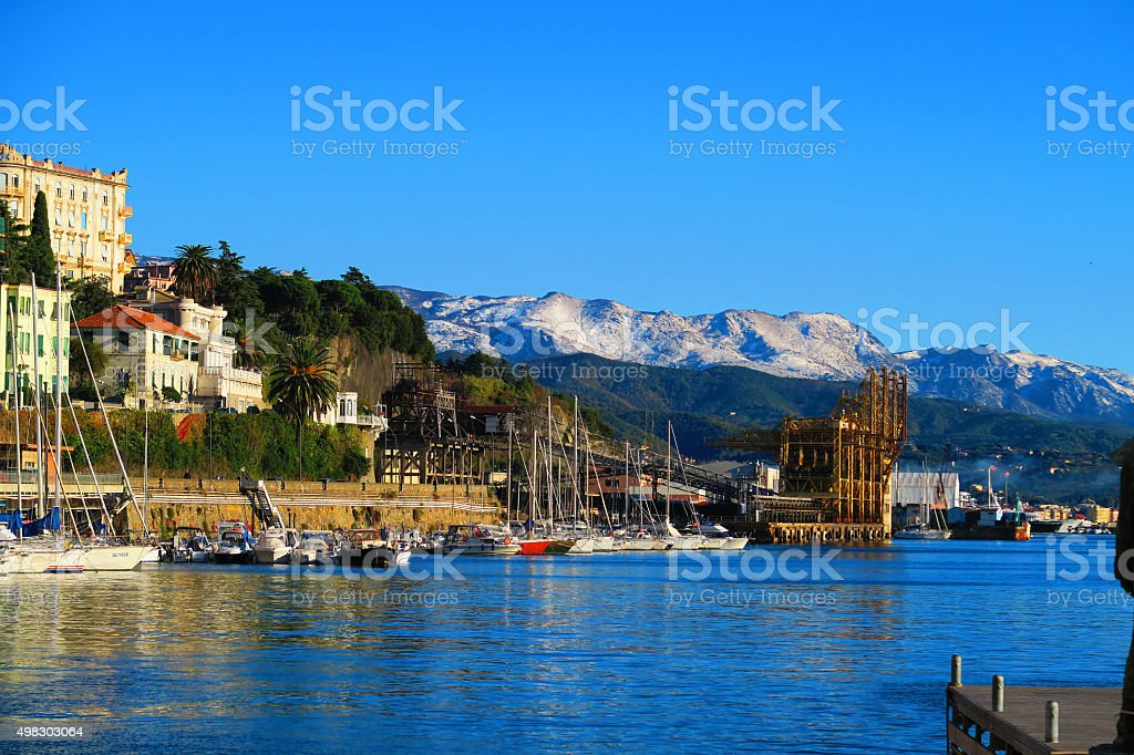View of the port of Savona,Liguria,Italy stock photo