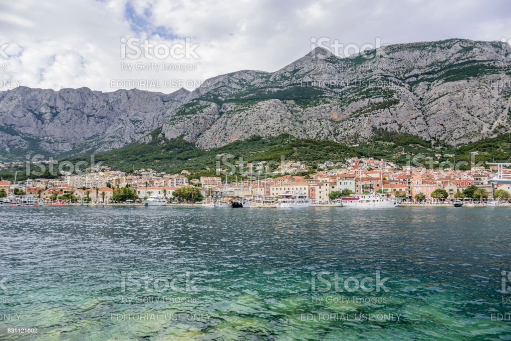 View of the port of the resort town of Makarska in the summer day stock photo