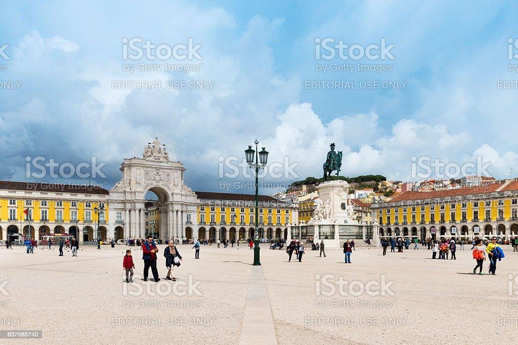 View of the Praça do Comercio in Lisbon, Portugal stock photo