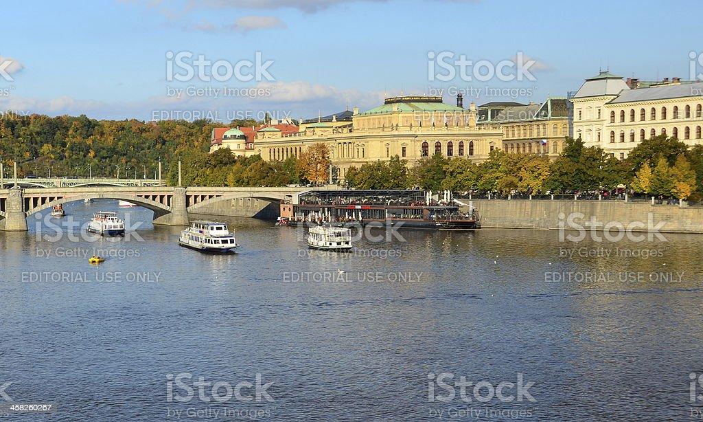 View of the Prague River Vltava and Manesuv Bridge stock photo