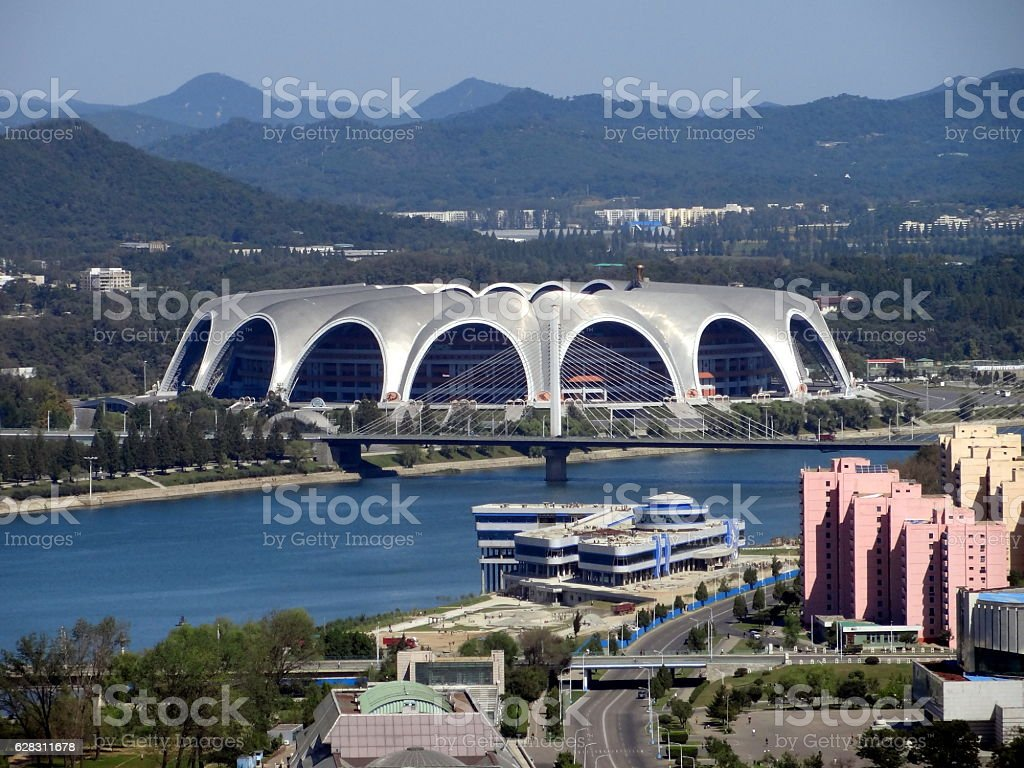 View of the Pyongyang city and Tucheto River stock photo