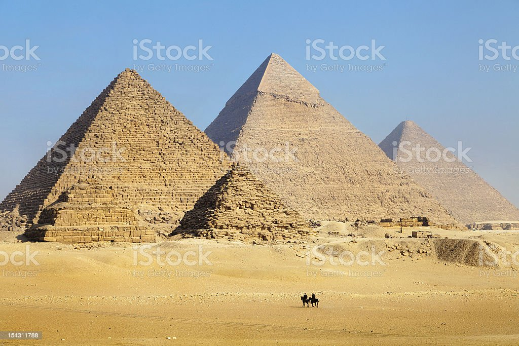 View of the Pyramids in Egypt stock photo